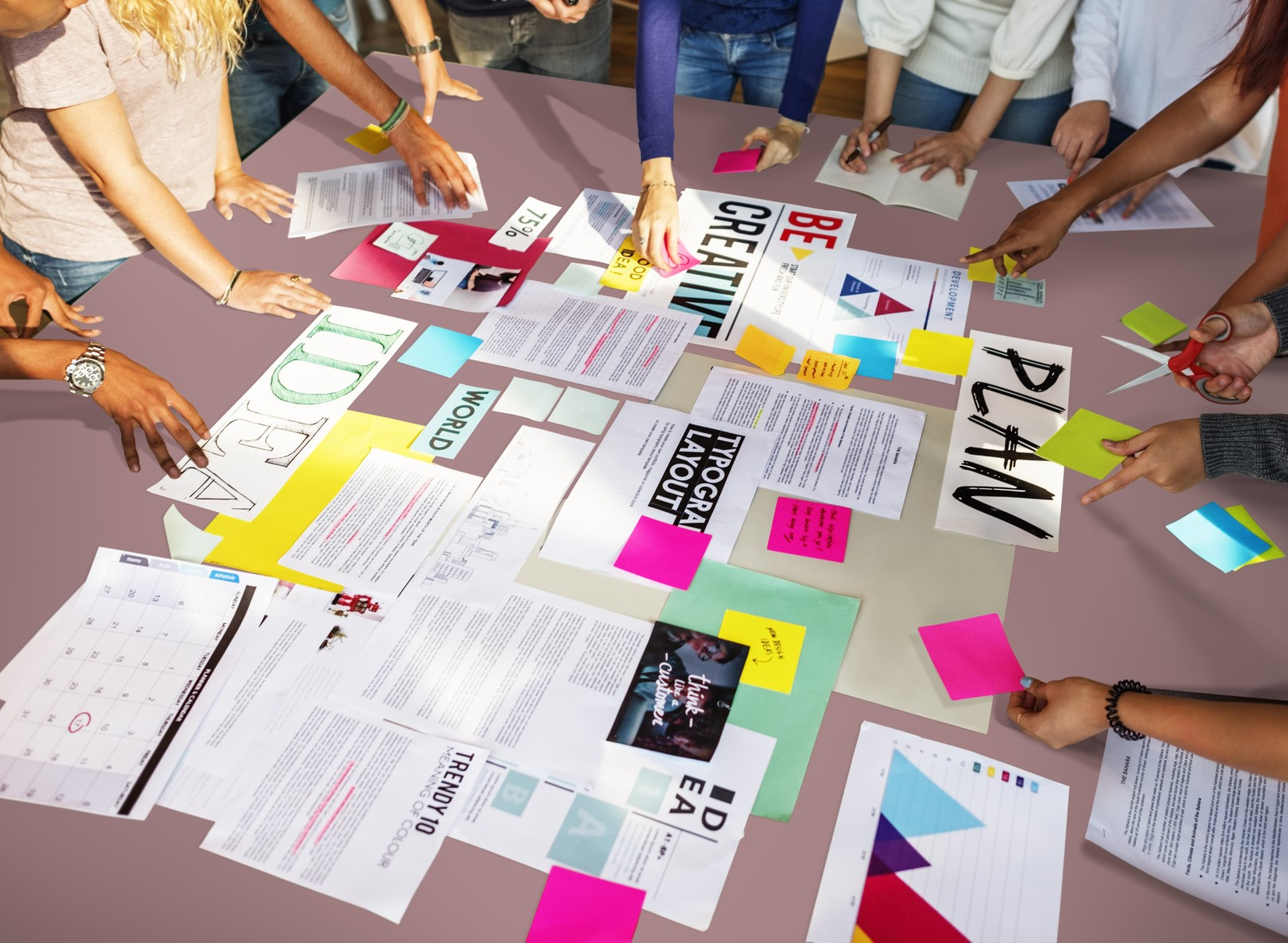 Teamaktion bei der Ideenentwicklung!
